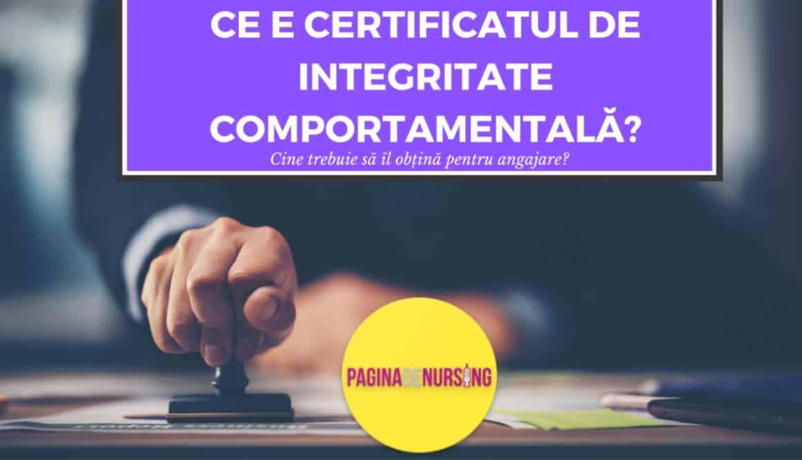 CERTIFICATUL DE INTEGRITATE COMPORTAMENTALA pentru asistenti medicali pagina de nursing